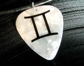 Gemini sign guitar pick necklace, white & black, hot foil stamped