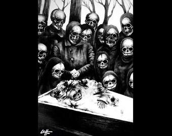 "Print 11x17"" - The Mourning Ritual 2 - Original - Skulls Skeleton Funeral Dark Art Macabre Horror Gothic Death Bones Victorian Bones Huanted"