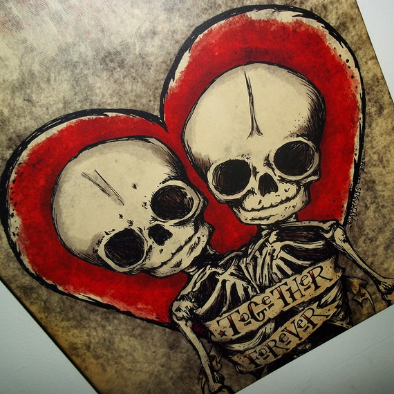 Items similar to together forever skulls stretched canvas for Valentine s day tattoos