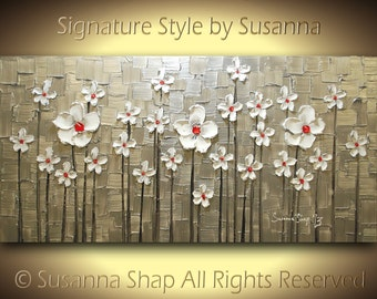 ORIGINAL Abstract Contemporary Heavy Texture Silver Red White Daisies Impasto Landscape Painting by Susanna 48x24 Ready to Hang Made2Order