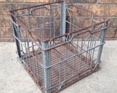 Metal Wire Milk Crate Industrial Rustic