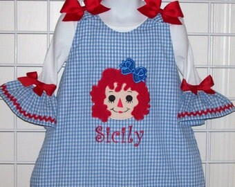Rag Doll Dress -  Applique with Monogram Blue Gingham A-line Dress & Ruffle Sleeve T-shirt Set - Birthday Party