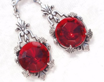 Ruby Red- Czech Glass and Antiqued Silver Earrings (E-096)