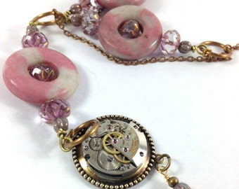 Rhodochrosite Donuts  ... Steampunk Gemstone Donut Necklace, Pink Steampunk Victorian One of a Kind