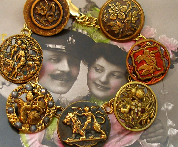 Cupids Garden Antique BUTTON charm bracelet, Victorian Eros & flowers on gold. Antique button jewelry, jewellery.