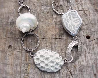 Mermaid Treasures Necklace - Ceramic, Seashell, Beach Pottery, metal, solder