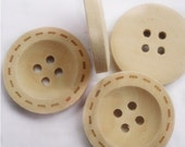 """Buttons (B28) Five 1"""" Diamter Round 4 Hole Wooden Buttons with Stitch Pattern for Knitting Crochet Sewing"""