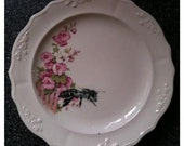 Honey Bee OOAK Ceramic Dish/Plate Flower Series