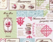 HALF YARD Yuwa Fabric - Mini Paris Dessert Blocks - French Éclair, Chocolat, Macarons, Palmier, Tart, Cake Dessert Mix  - Japanese Import