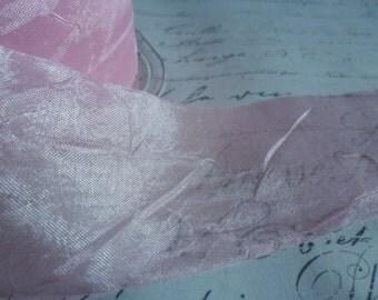 1.5 inch Sweet Pink Sheer Silky Crushed Ribbon