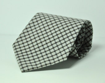 Brown Plaid Men's Necktie - Cotton Necktie - Custom Ties