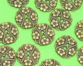Lovely Set 14 MuLti-FLOWER Vintage New Antiqued Brass METAL Buttons