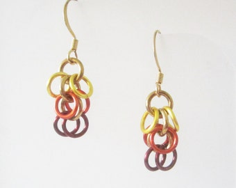 Short Sonoran Sun Shaggy Loops Chainmaille Earrings Handmade