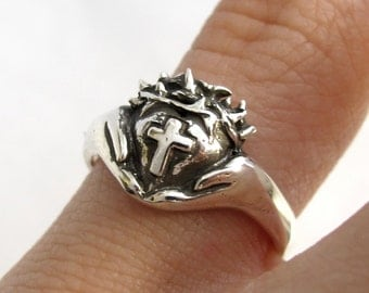 Crown of Thorns Claddagh Ring - Religious Silver Cross Ring - Celtic Jewelry - Christ - Faith Jewelry, Gift For Teens -Rickson Jewellery 155