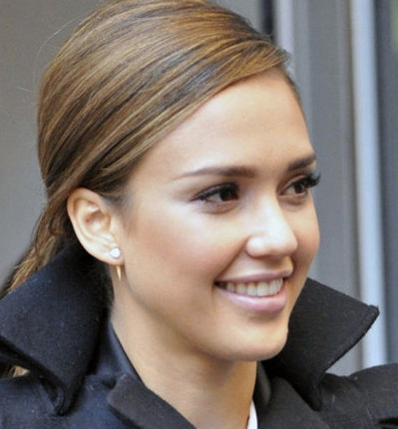 Spike Earring Jackets As Seen On Jessica Alba 14k Yellow
