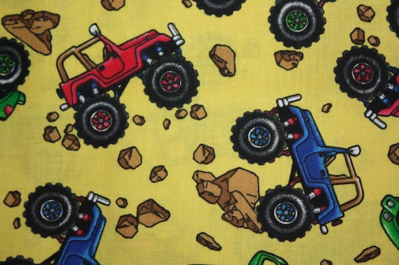 Discounted oop monster truck fabric one yard offroad for Monster truck fabric
