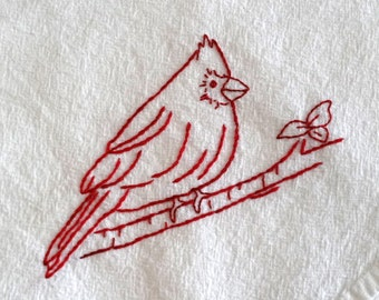 Redwork Cardinal Bird Flour Sack Towel Kit Hand Embroidery Pattern