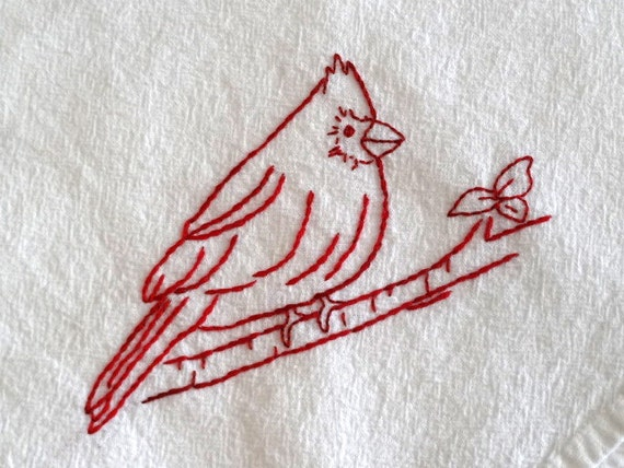 Redwork cardinal bird flour sack towel kit hand embroidery