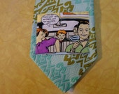 "Vintage 1970s Upcycled Necktie with Funky Comic Fabric Panel ""Are we there Yet? Are we there Yet?"" Minty Green Wembly Tie-Free USA Shipping"