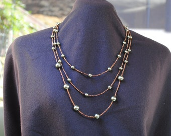 Bronze and Green Beaded Necklace and Earring  Set FREE SHIPPING