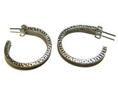 Stud Hoop Earrings Silver Square Wire Hammered Texture