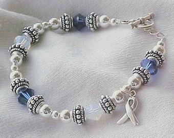 ALS / Lou Gehrig's Disease Awareness Hand-Crafted Sterling Silver & Swarovski Crystal Bracelet