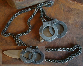Jewelry, Necklace, Men's, Handcuffs, NOT A TOY, Sharp Blade, Fold Out, Heavy Duty Steel Chain, USA