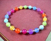 Gemstone Beaded Bracelet, Colorful and Silver Stackable Bracelet, Rainbow Jade Stretch Bracelet, FREE Shipping U.S.