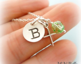 Personalized Initial Birthstone Necklace. Cross Necklace. First Communion. Baptism. Christening. Customized Sterling Silver Necklace