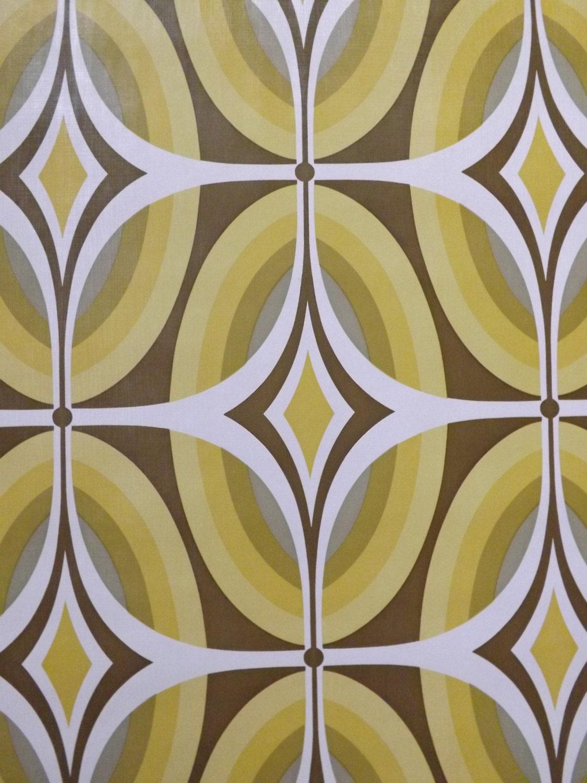 Retro Wallpaper 70s Geometric Funky Yellow Green Mustard