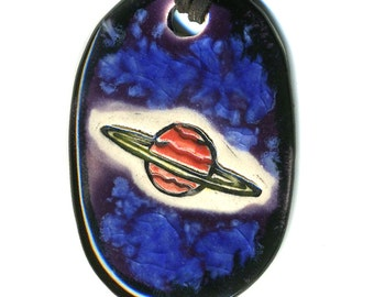 Ringed Planet Ceramic Necklace in Black and Purple