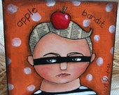 Apple Bandit deep canvas mixed media original