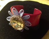 Vintage rhinestone flower cuff bracelet