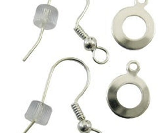 SALE:  4 Pieces, Fuseworks Silver Plated Earwire Set with Bails (2 ear wires / 2 bails)
