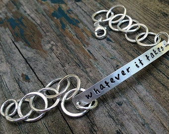 Silver Bracelet - Custom Personalized Bracelet - EcoFriendly Sterling SIlver - Message Jewelry - Encouragement Gift - Love Message Gift