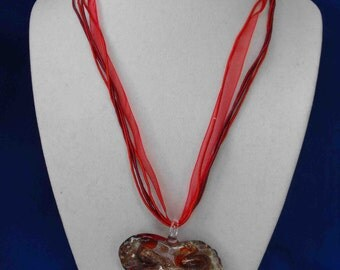 Murano Glass Pendant, Italy, Red and Gold, Necklace, ca 1990