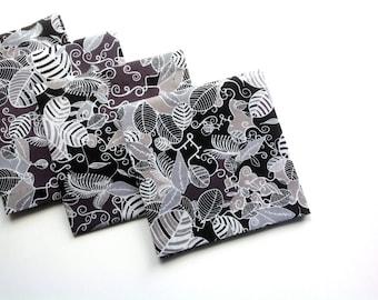 Black Grey White Taupe Fabric Cocktail Napkins Beverage Napkins Eco Friendly 100% Cotton Napkins Appetizer Napkins Coasters - set of 6