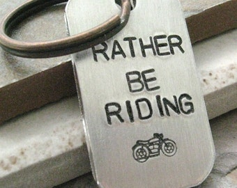 Rather Be Riding Keychain, Motorcycle Keychain, aluminum tag, optional personalized initial disc, see all pics, motorcycle fan, biker gift