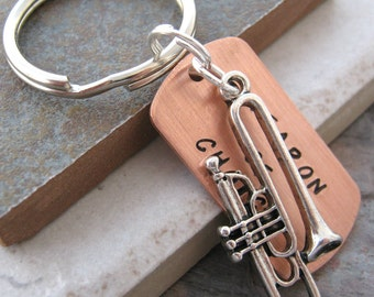 TROMBONE Weapon of Choice Stamped Keychain, gift for the band geek, trombone player, wind instrument, optional initial disc
