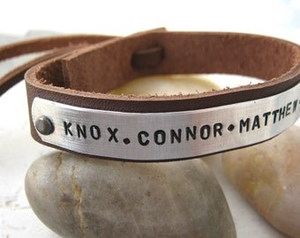 Personalized Father's Day Bracelet, Adj Leather Cuff 1/2 inch wide, 25 characters max, Dad's Bracelet, Father's Bracelet, gifts for dad