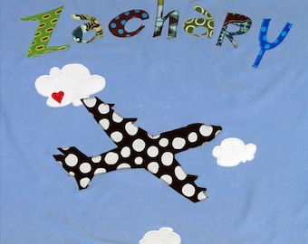 Personalized Baby Blanket in Color Sky with Airplane in the Clouds, Pilot Baby Gift, Baby Gift, Baby Shower, Baby Shower Gift, Airplane Baby
