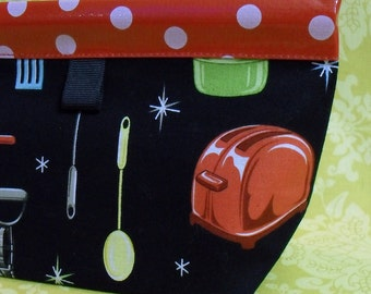 Kitschy Kitchen Oilcloth Snappy Pouch - Medium