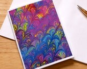 Marbled Paper Design Notebook no.12, Mini Journal, Small Diary, Travel Notebook, Jotter, Deep Jewel Tones, Eco-Friendly