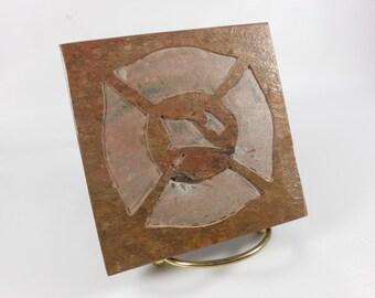 FIREMAN CROSS 4x4 Art Tile, Coaster - Maltese Cross - Carved Natural Slate Stone, Firefighter Recognition