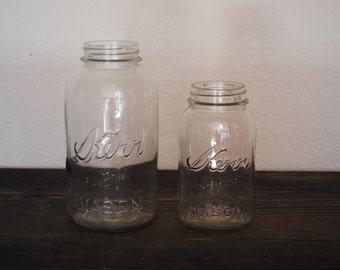 2 Vintage Kerr Mason Jars ~ Round