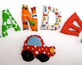 Personalized Stuffed Name Bucket Set with Blue or Red Stuffed Car