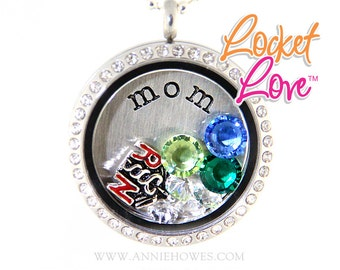 Mother's Day Floating Locket Crystal Framed Memory/Journey Locket Customized with Your Swarovski Crystals Birthstone. Locket Love tm 30mm