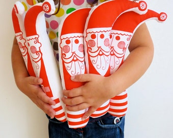Screen printed Retro Santa Father Christmas Softie Toy