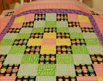 Matryoshka Russian Nesting Dolls Baby Girl or Toddler Quilt in Cotton and Flannel