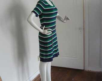 Ladies Rare 60s BAN-LON Sweater Dress / small 2 4 6  / Blue Green Mod Preppy STRIPES Nylon / Tommy Sator 1960s